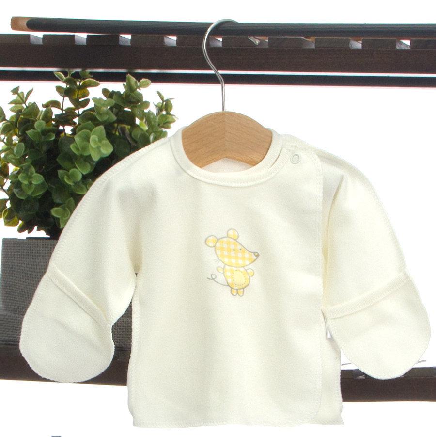 желтая распашонка с рисунком на вешалке
