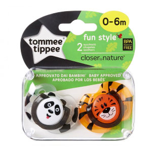 Tommee Tippee пустышки ортодонтические fun style, 0-6 мес., 2 шт/уп.