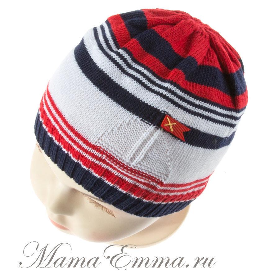 летняя вязаная шапочка для мальчика миалт регата красные полоски