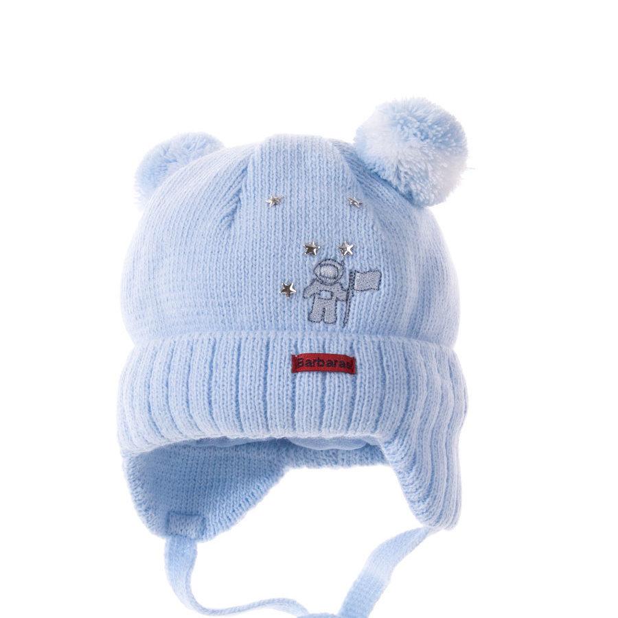 вязаная шапка для новорожденного мальчика Barbaras космонавт голубая