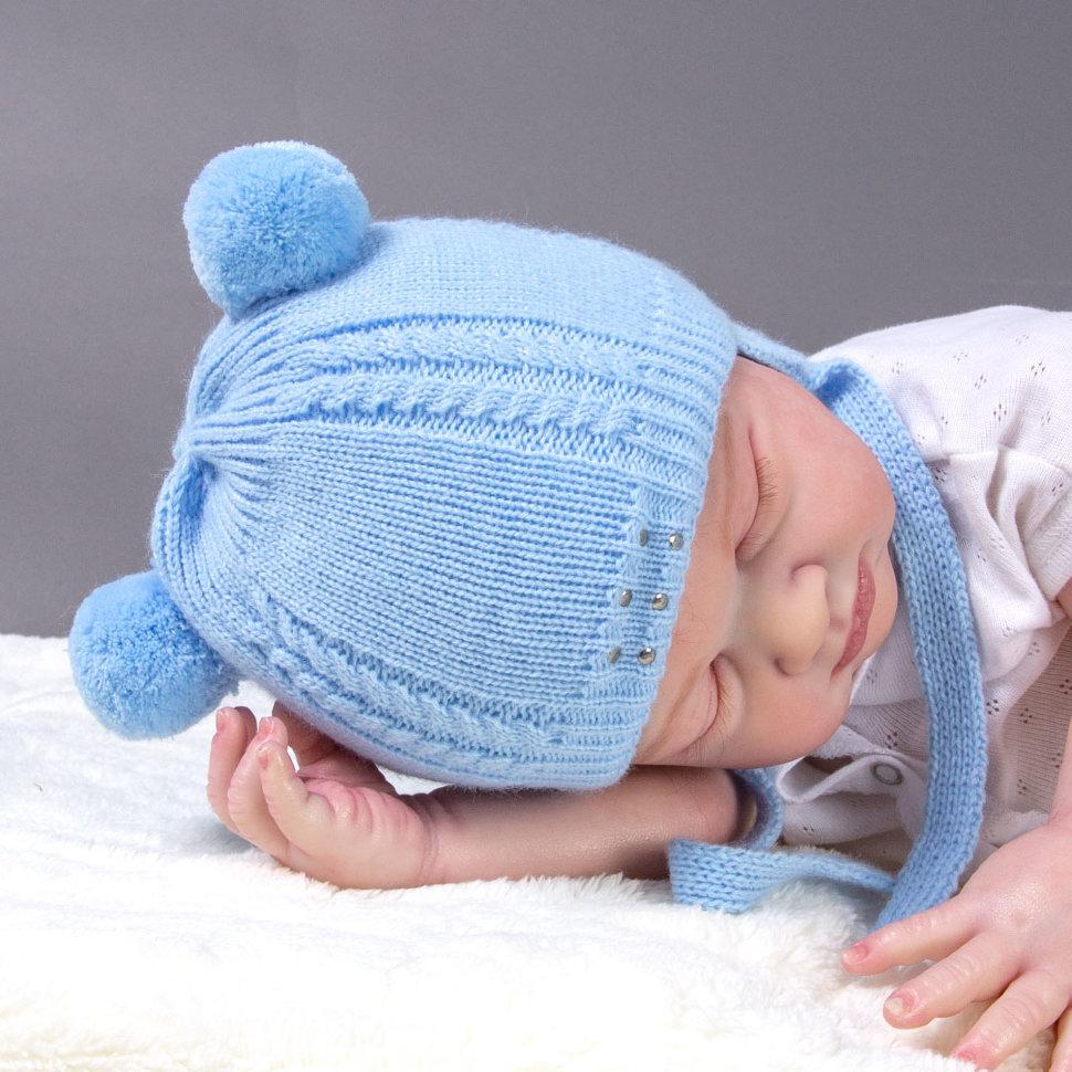 голубая шапочка для новорожденных вязаная на утеплителе купить в