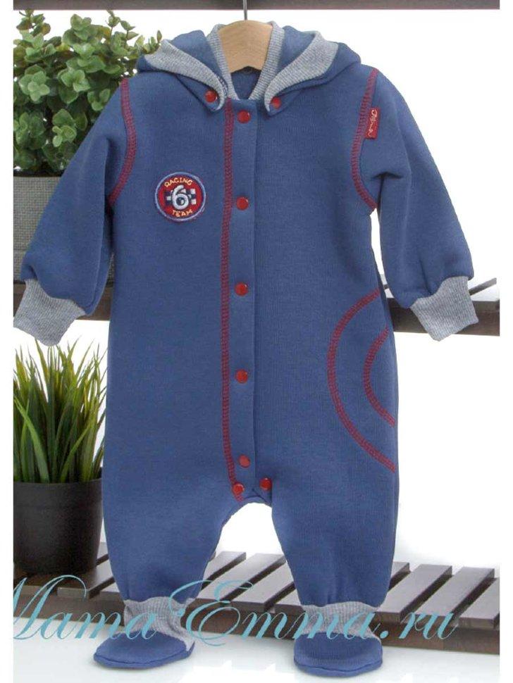6227fc0ea16 Теплый комбинезон со съемным капюшоном ТриЯ синий с серым купить в ...