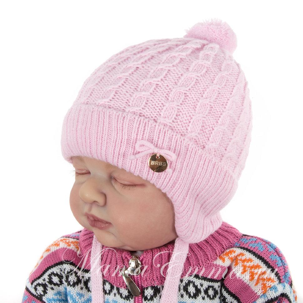 вязаная шапка для новорожденной девочки Barbaras косы купить в