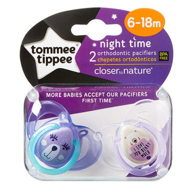 Tommee Tippee ночные пустышки 6-18 мес Night Time