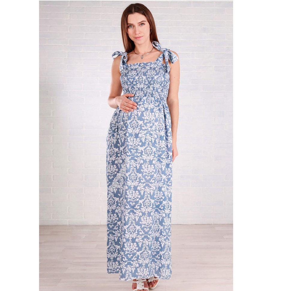 40a333beaf8 Голубой сарафан в пол для беременных Euromama с узорами купить в ...